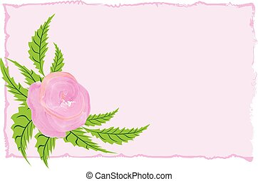 Rose flower watercolor frame vector