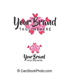 Rose flower wedding logo