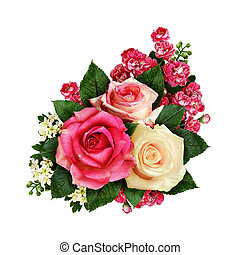 Rose flowers and buds bouquet