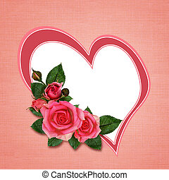 Rose flowers and heart on pink background