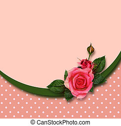 Rose flowers composition and holiday frame - Rose flowers...