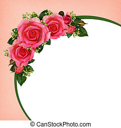 Rose flowers frame on pink and white background