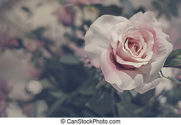 Rose flowers in vase with copy space vintage style