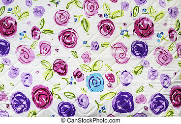 Rose flowers on fabric background