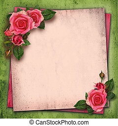 Rose flowers in a corner of vintage background