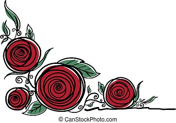 Rose flowers on white background vector illustration
