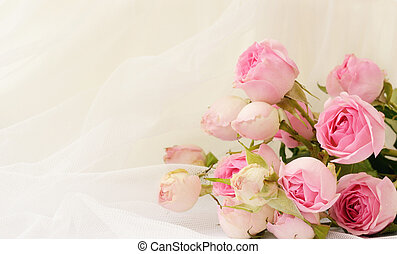 Rose flowers on white folded tulle - Pink rose flowers on...