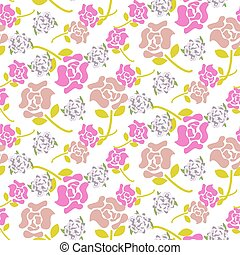Rose flowers pink and green floral dark pattern seamless vector.