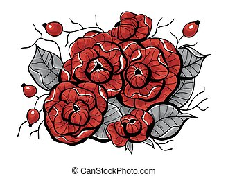 Rose flowers, rose hips and leaves forming bouquet on white background.