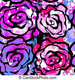 Rose flowers seamless hand craft expressive ink pattern. Funky style painted texture, poster with different doodles for fabric, wrapping, decoration, greeting card, textiles or t-shirt apparel design.