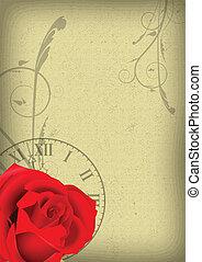 rose, fond, horloge