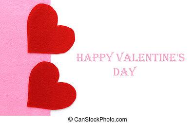 rose, formes coeur, papier, fond, blanc rouge