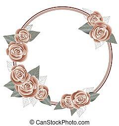 Rose frame for a postcard, circle