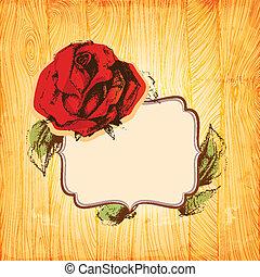 Rose frame over vintage wood texture background