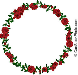 Rose frame - Wreath of vector roses and thorny vines