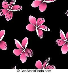 rose, frangipanier, feuilles, seamless, exotique, paume, modèle, sur