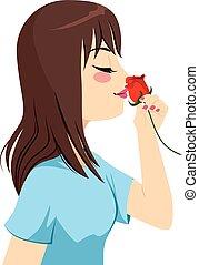 rose, frau, riechen