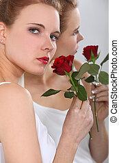 rose, frau, rotes