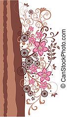 rose, frontière brune, floral