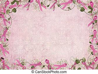 rose, frontière, ruban
