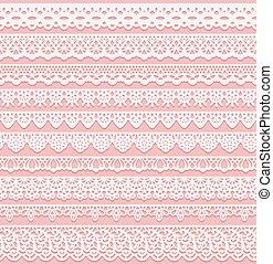 rose, frontières, ensemble, silhouette, dentelle, horizontal, seamless, isolé, arrière-plan., mariage, laser, blanc, suitable, cutting., design.