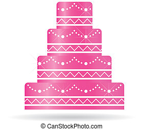 rose, gâteau mariage, pour, invitations, ou, card.