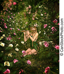 Rose Garden, 3d CG - in a rose garden a girl is playing the...