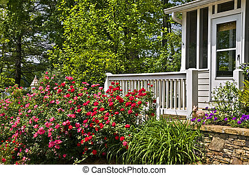 Rose Garden at the Porch of a House