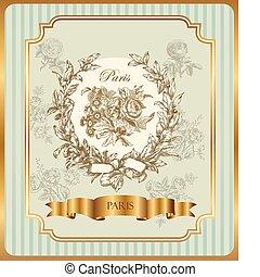 rose, ghirlanda, etichetta