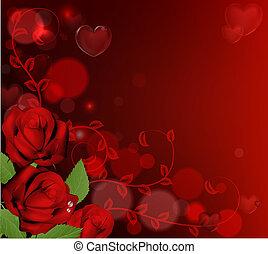 rose, giorno valentines, fondo, rosso