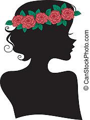rose, girl, bandeau, silhouette