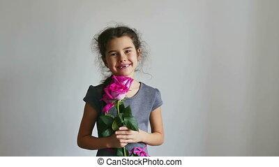 rose, girl, fleurs