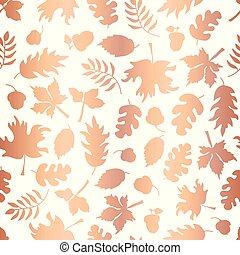 Rose Gold foil autumn leaf silhouettes seamless vector background. Copper shiny abstract fall leaves shapes on white background. Elegant pattern for digital paper, Thanksgiving card, party invitation