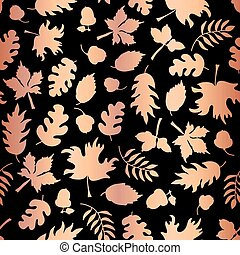Rose Gold foil autumn leaf silhouettes seamless vector background. Copper shiny abstract fall leaves shapes on black background. Elegant pattern for digital paper, Thanksgiving card, party invitation