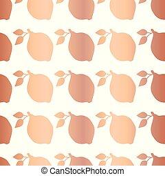 Rose gold foil lemon seamless vector pattern