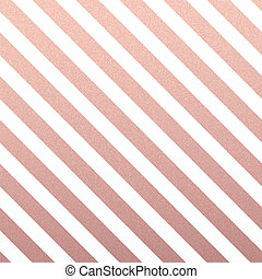Rose Gold glittering diagonal lines pattern on white background.