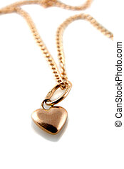 Gold heart pendant with chain - Rose Gold heart pendant with...