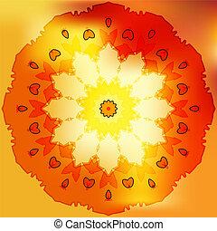 Rose gold sun petal flower shell on yellow