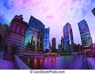 rose, gratte-ciel, chicago, ciel, contre, coucher soleil, pendant