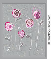 rose, gris, carte postale, résumé, roses, fond
