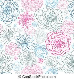 rose, gris, modèle, seamless, fond, floral, lineart