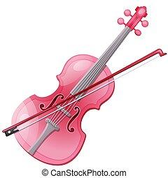 rose, gros plan, illustration., isolé, arc, arrière-plan., vecteur, violon, blanc, dessin animé