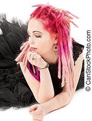 rose haren, meisje