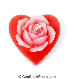rose heart candle isolated over white