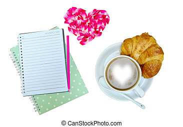 Rose heart - coffee,notebook and rose heart on a table white...