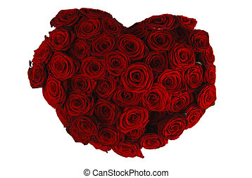 Rose heart - Heart made of beautiful red roses isolated on...