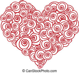 rose heart - heart shape made of red roses, vector...