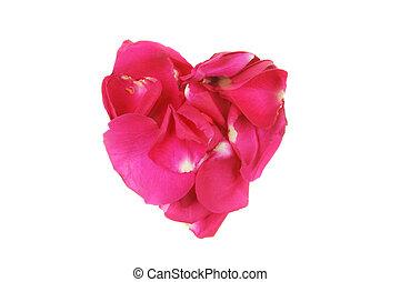 Rose heart - Red rose petals form a heart shape