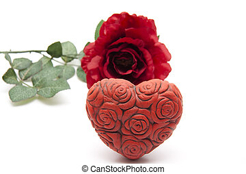 Rose heart with red rose