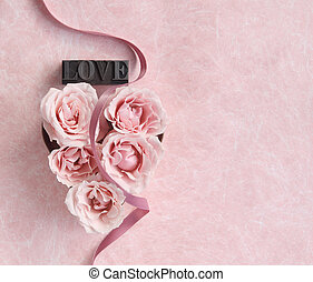 rose heart with ribbon